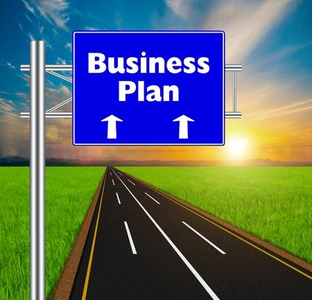 Blue Road Sign concept Business Plan on soft natural landscape background. photo