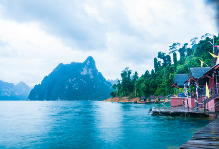 Lakeside cottages and mountains among scenic natural beauty