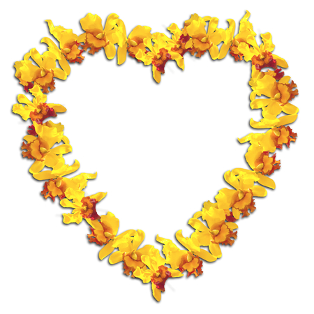 abstact: Abstact Beauty Heart Frame Yellow orchid on white background