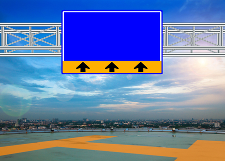 wikipedia: Blue Route Sign concept with resplendent clouds and sky.