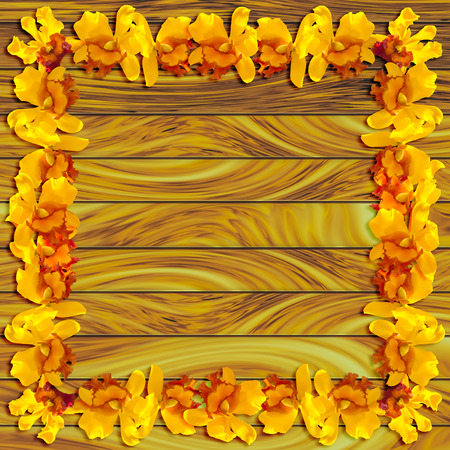 abstact: Abstact Beauty Frame Yellow orchid on wood plank background Stock Photo