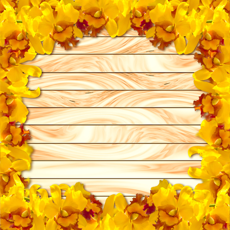 abstact: Abstact Beauty Yellow orchid on wood plank background