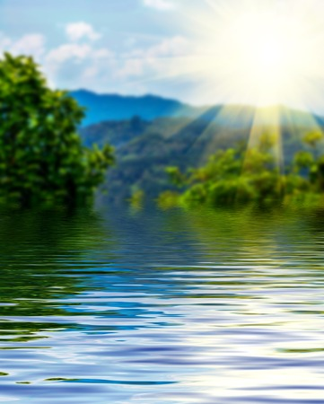 debonair: Beautiful surface rippled of water and blur nature background