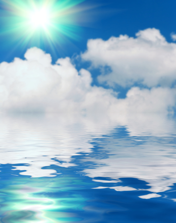 water ripple: Abstract Surface water ripple and reflection of soft sky and clouds background