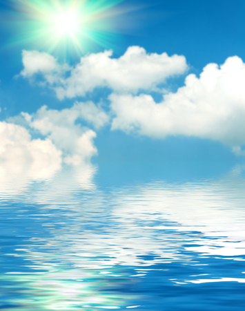 ripple: Abstract Surface water ripple and reflection of soft sky and clouds background