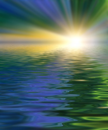 Abstract beautiful soft and blurred colorful surface of water rippled reflection and sky background