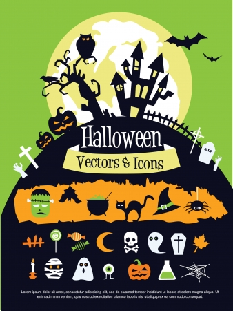 Halloween theme illustration template set Vector