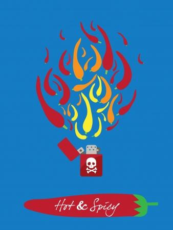 flint: spicy restaurant theme background illustration template set – fiery lighter