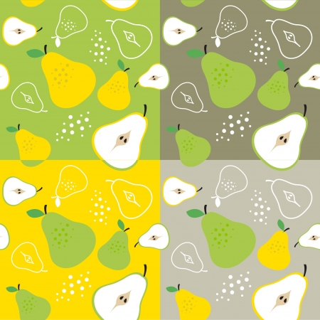 pear fruit  theme seamless background illustration template Illustration