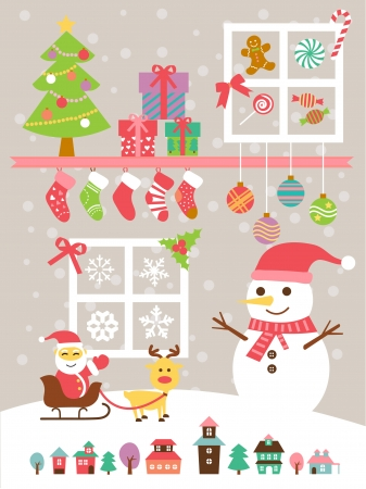 Christmas theme background illustration template set Vector