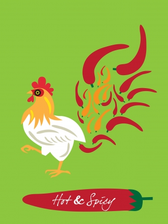 spicy restaurant theme set template – flaming chicken Vector