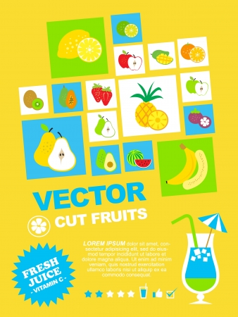 fresh fruit and juice theme template illustration set Vector