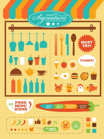 hot water bottle: restaurant theme illustration template set Illustration