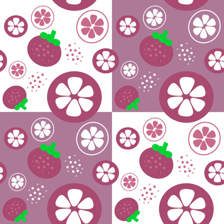 mangosteen fruit theme background illustration template seamless illustration Vector