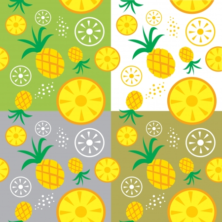 pineapple fruit  theme seamless background illustration template Vector