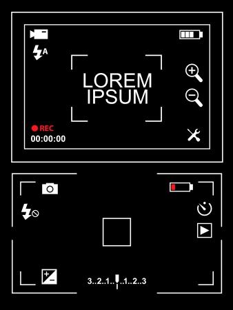 viewfinder: Fotocamera e video camcoder mirino illustrazione impostato su sfondo bianco