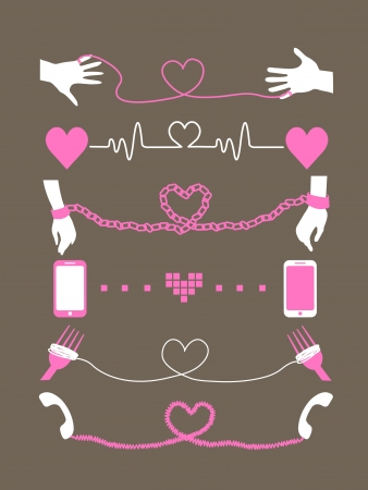 Valentine theme illustration templete set Vector