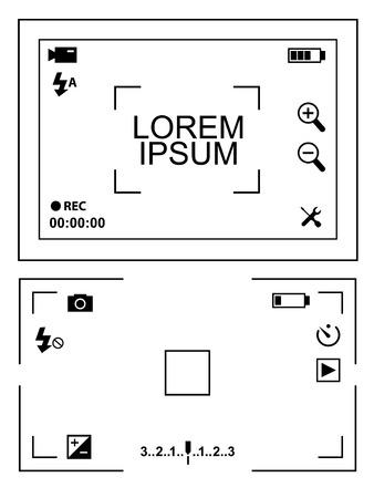 camera and video camcoder viewfinder illustration set on white background
