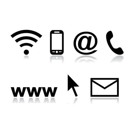 contact us icon set phone  e-mail address mobile on black background Vector