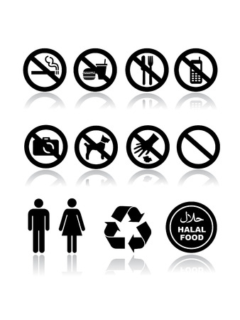 Not allowed templete icon set on white Vector