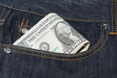 bolsa dinero: Loose Change Pocket concepto de dinero billetes de d�lares Foto de archivo