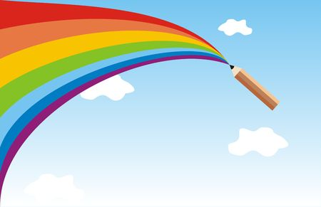 The pencil draws a rainbow in the sky Stock Photo