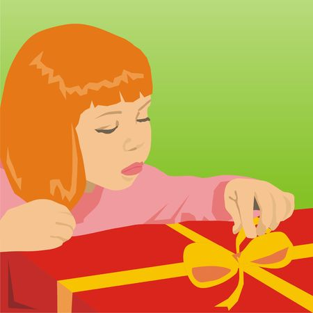The girl opens a gift