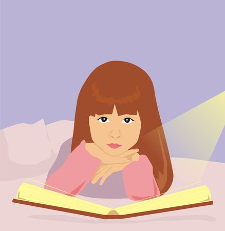The girl reads the book for the night Stock Photo