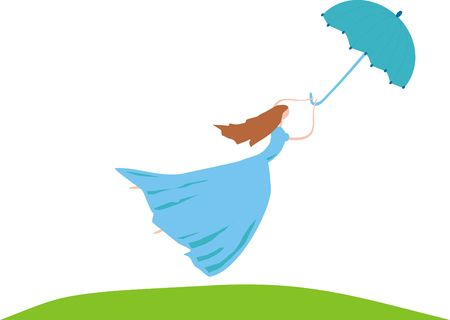 The girl flies on an umbrella to a wind