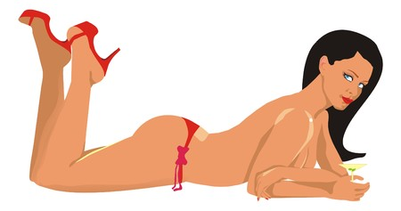 The sexual girl in red barefoot persons and shorts Illustration