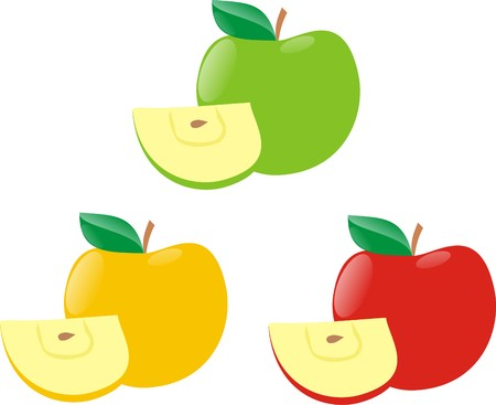 Apples with segments of different colours Illustration