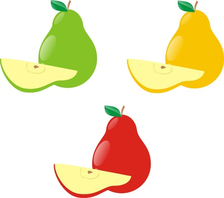 Pears with segments of different colours