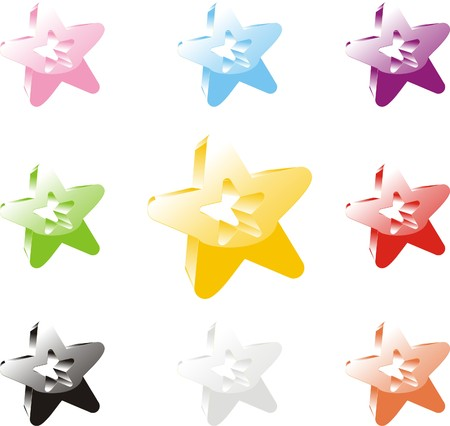 Set of icons of a star
