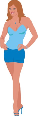 The girl in dark blue shorts Illustration