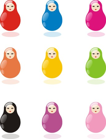 Nested dolls of different colors