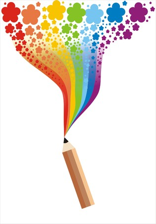 The pencil draws a flower rainbow