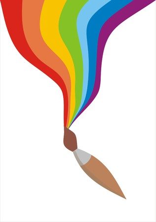 The brush draws a rainbow Illustration