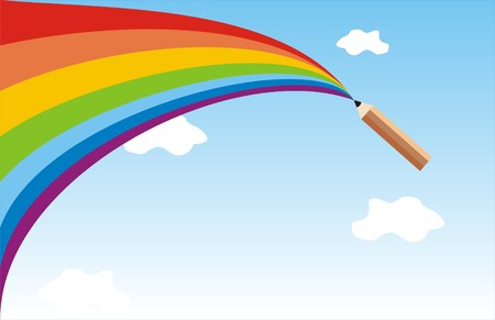 The pencil draws a rainbow in the sky Illustration