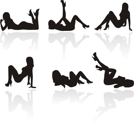 Silhouettes of lying sexy girls
