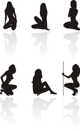 Silhouettes of sitting sexy girls.