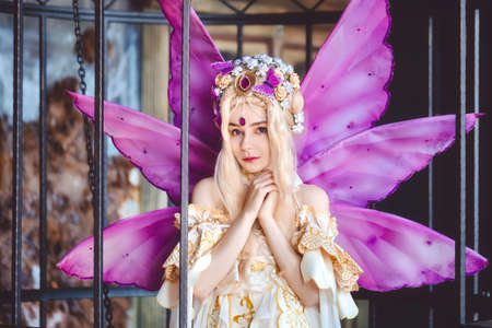 Young attractive girl dressed as fairy in the cage portrait