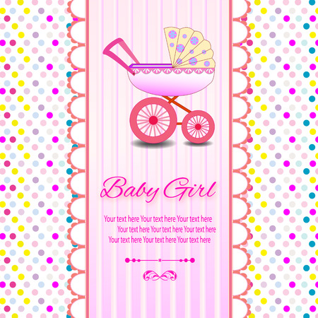 congratulate: Baby beautiful girl card with your text for invitation, greeting, frame, birthday, label, postcard, congratulate, frame, gift and etc. Illustration