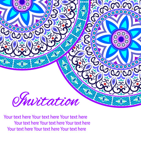 baroque background: Elegant card with lace ornament and place for text on background with seamless pattern. Vintage style. Wedding invitation. Vector mandala.