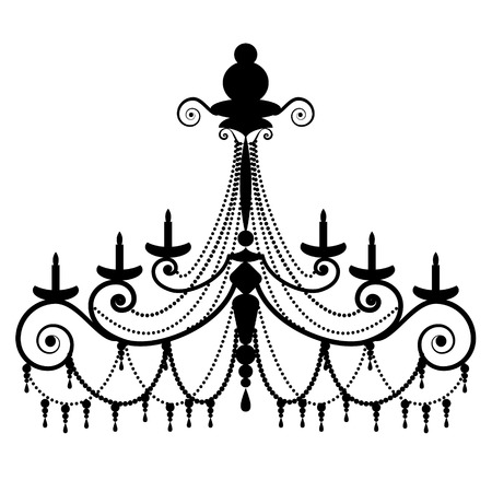 antique decorative chandelier silhouette isolated on white, full scalable vector graphic Imagens - 42425176