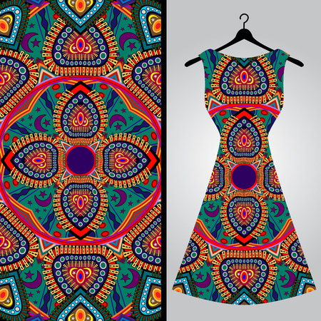 fabric art: Fabric pattern design for a womans dress. Vector fashion illustration. Design Mandala.  Perfect for printing on fabric or paper.
