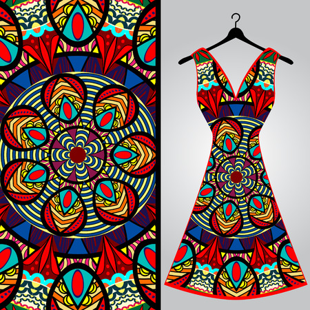 summer girl: Fabric pattern design for a womans dress. Vector fashion illustration. Design Mandala.  Perfect for printing on fabric or paper.