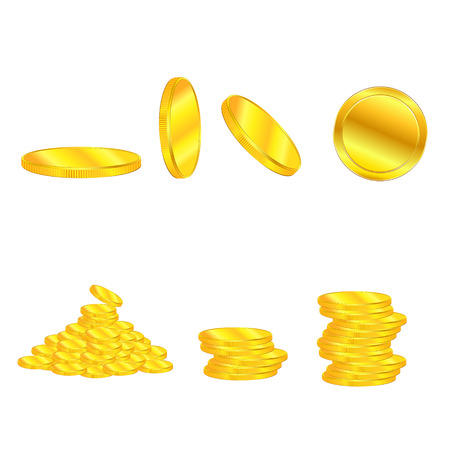 hoard: golden coin heap vector illustration isolated on white background EPS10. Transparent objects and opacity masks used for shadows and lights drawing. Vector Illustration.