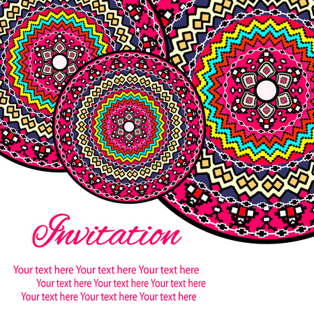 lace: Elegant card with lace ornament and place for text on background with seamless pattern. Vintage style. Wedding invitation. Vector mandala.