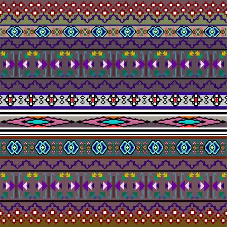 Patrón transparente del boho del arte tribal. Impresión geométrica étnica. Textura de fondo de repetición colorida. Tela, diseño de tela, papel pintado Ilustración de vector