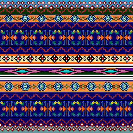 blanket: Tribal art boho seamless pattern. Ethnic geometric print. Colorful repeating background texture. Fabric, cloth design, wallpaper Illustration